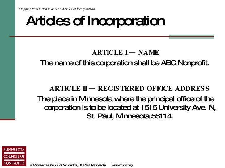 Writing articles of incorporation