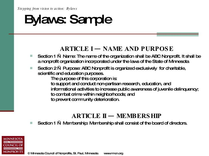 bylaws for nonprofit organizations template - starting a nonprofit in minnesota