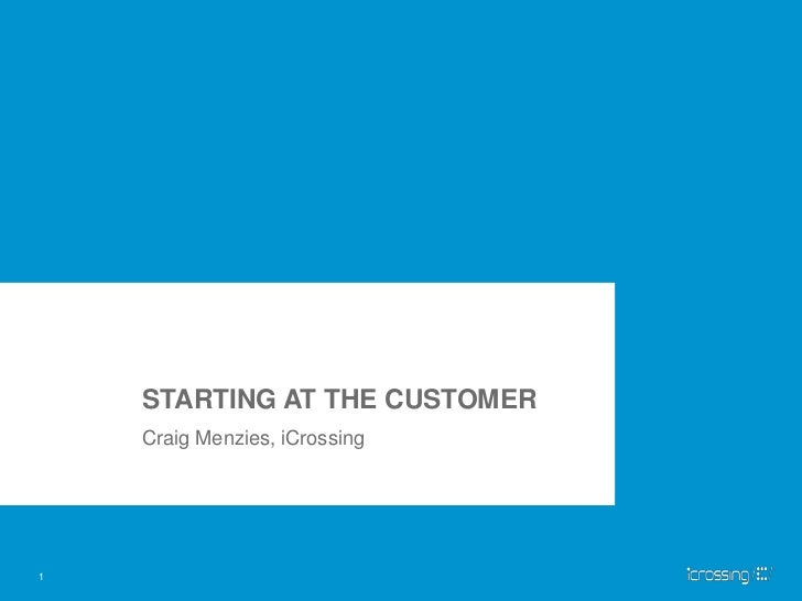 STARTING AT THE CUSTOMER<br />Craig Menzies, iCrossing<br />1<br />