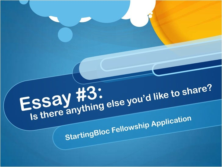 StartingBloc Essay #3