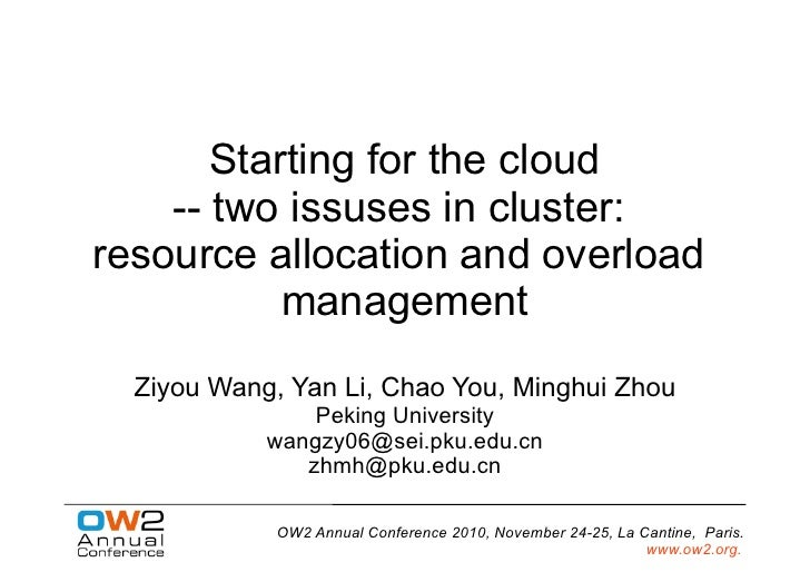 Starting for the Cloud, OW2 Conference Nov10