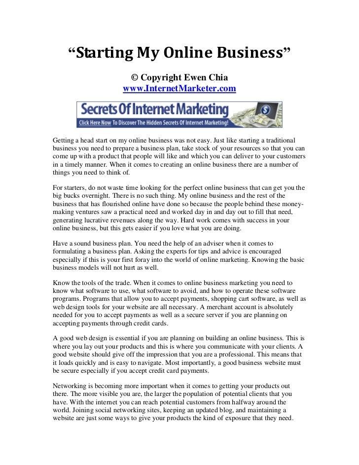 """Starting My Online Business""                          © Copyright Ewen Chia                         www.InternetMarketer...."