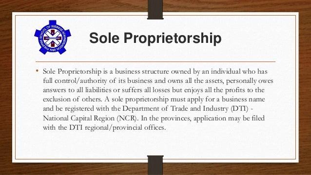Sole proprietorship business plan examples