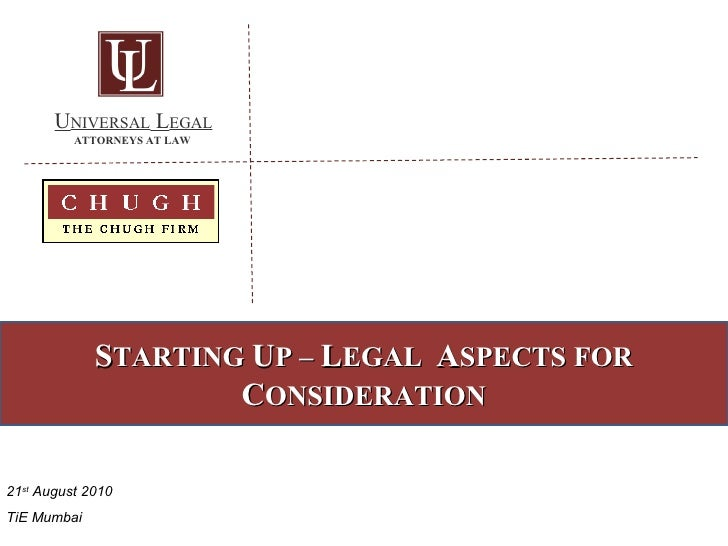 Starting Up:   Legal Aspects for Consideration