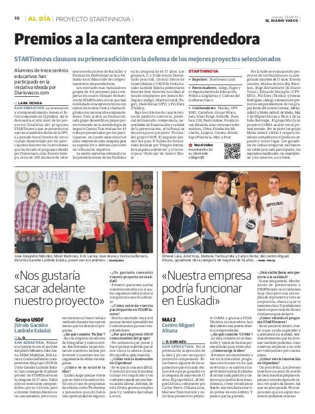 Alumnos de trece centroseducativos hanparticipado en lainiciativa ideada porDiariovasco.com:: LARA OCHOASAN SEBASTIÁN. La ...