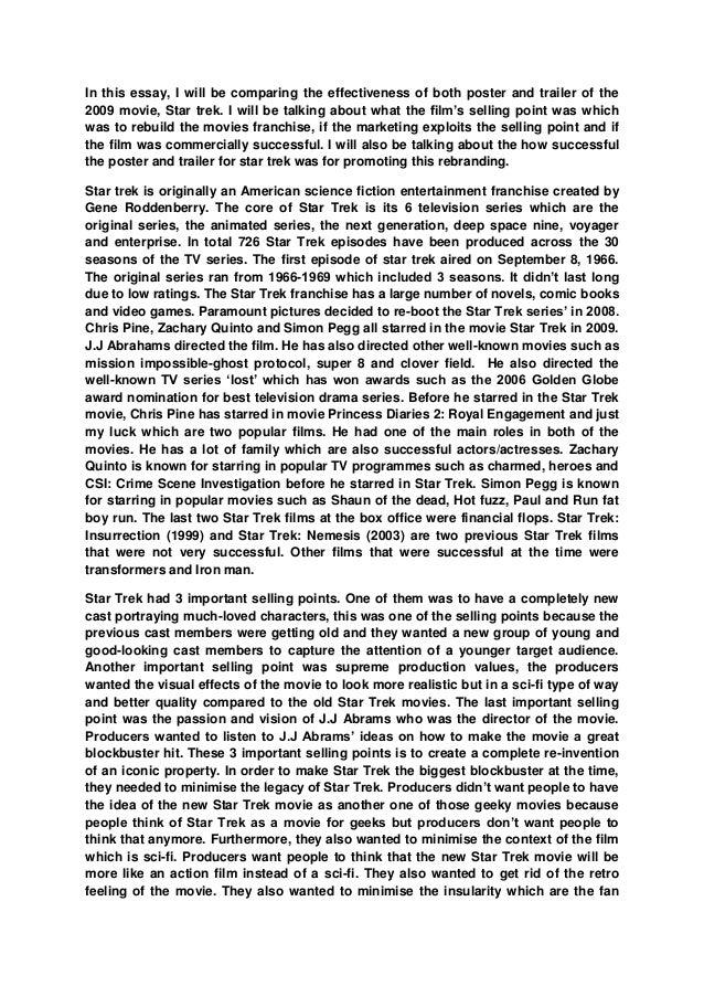 Startrek promtion essay