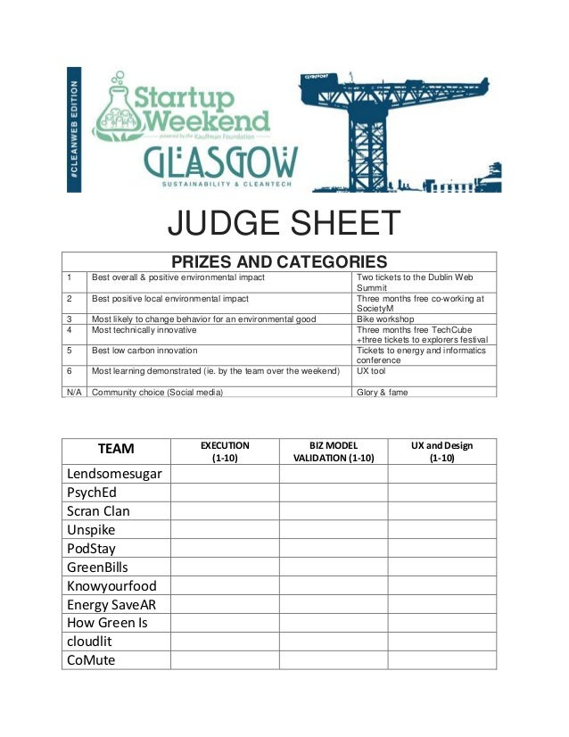JUDGE SHEET PRIZES AND CATEGORIES 1  Best overall & positive environmental impact  2  Best positive local environmental im...