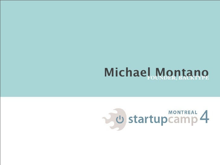 Startup Camp Montreal - Keynote