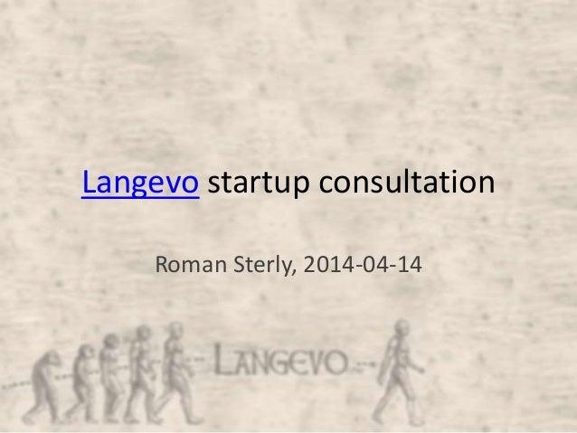 Langevo startup consultation Roman Sterly, 2014-04-14