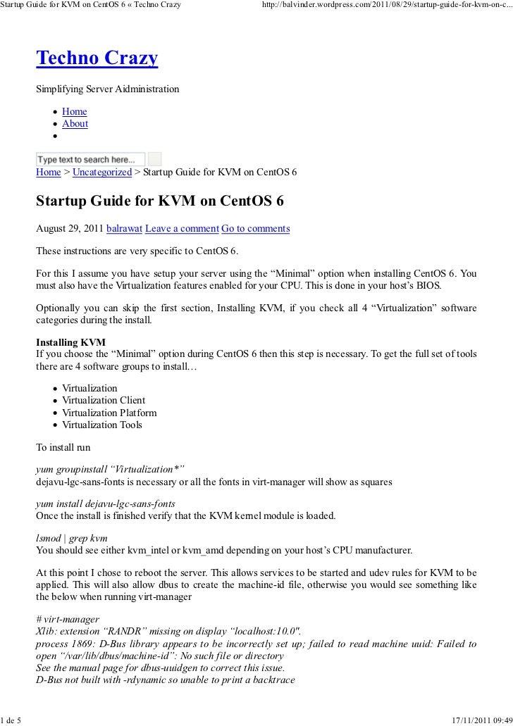 Startup guide for kvm on cent os 6
