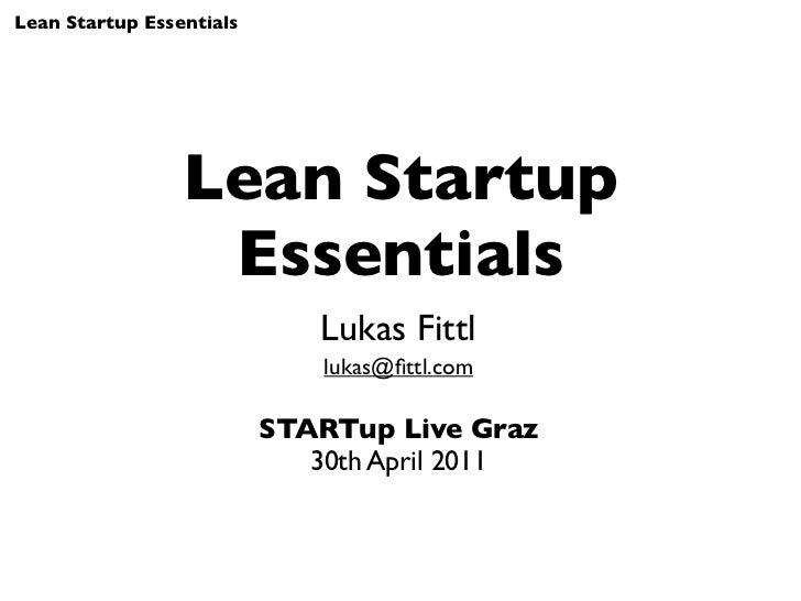 Lean Startup Essentials - STARTup Live Graz