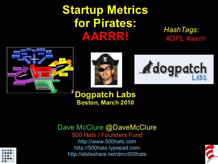 Startup Metrics for Pirates: AARRR! Dogpatch Labs Boston, March 2010 Dave McClure  @DaveMcClure 500 Hats / Founders Fund h...