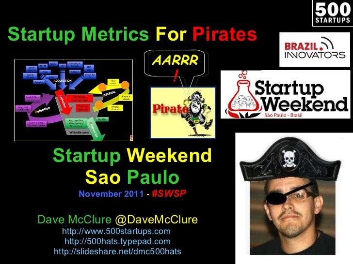 Startup   Metrics  For  Pirates Startup   Weekend Sao   Paulo November 2011  -  #SWSP Dave McClure  @DaveMcClure http://ww...
