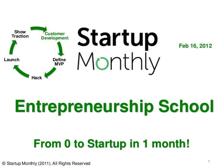 Startup Monthly Entrepreneurship School