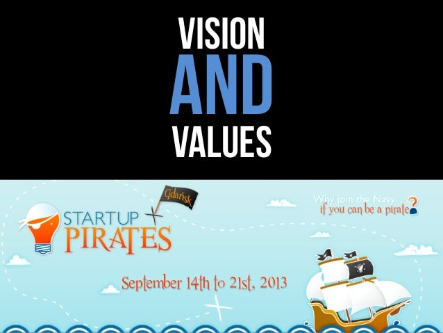 Vision AND values Startup Pirates 15 September 2013