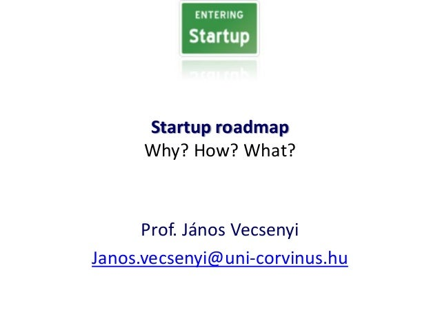 Startup roadmap Why? How? What? Prof. János Vecsenyi Janos.vecsenyi@uni-corvinus.hu