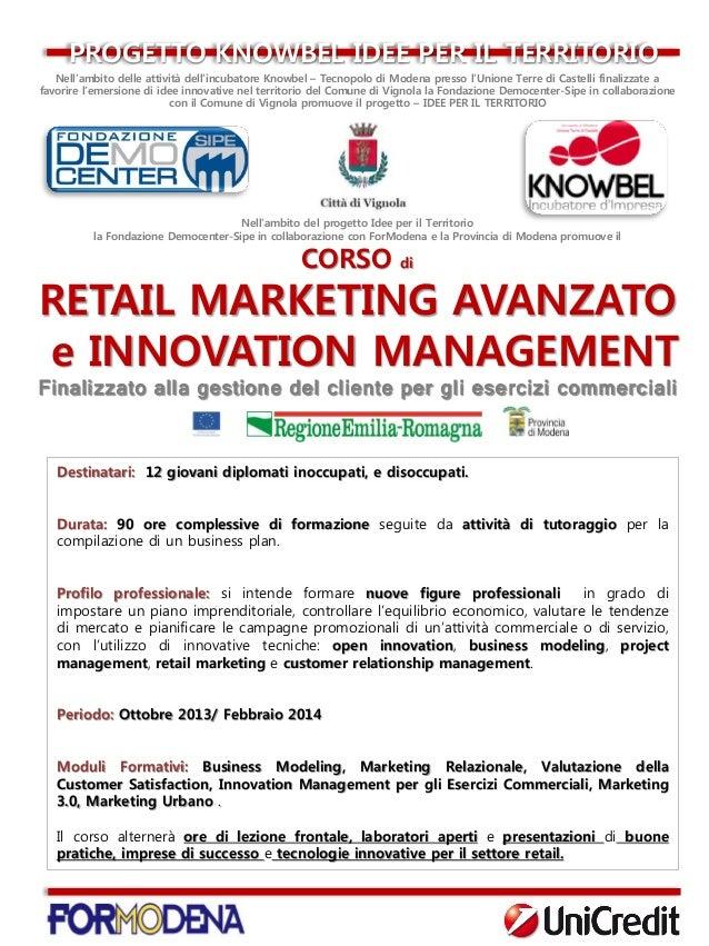 Startup Commercio RETAIL MARKETING E INNOVATION MANAGEMENT