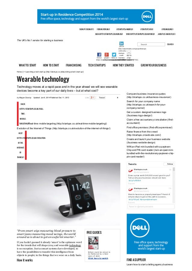 Startups Online - Wearable Devices
