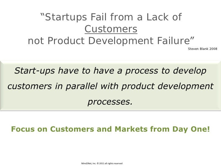 """""""Startups Fail from a Lack of               Customers    not Product Development Failure""""                                 ..."""