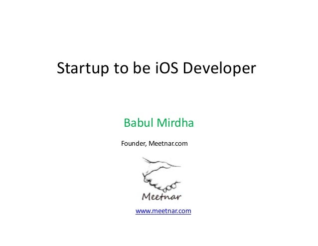 Startup to be iOS developer