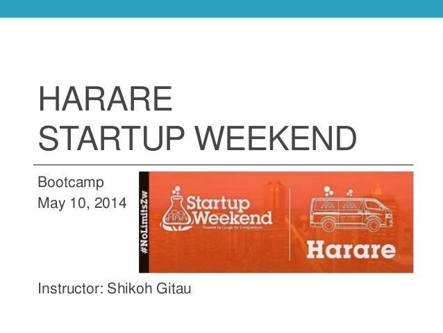 HARARE STARTUP WEEKEND Bootcamp May 10, 2014 Instructor: Shikoh Gitau