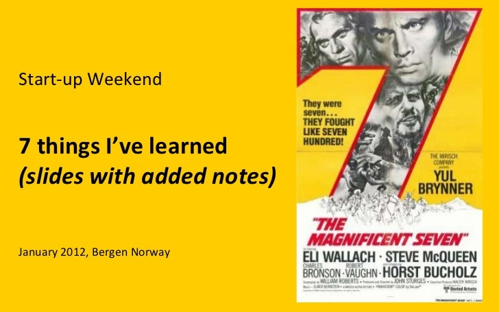 Start-up Weekend 7 things I've learned (slides with added notes) January 2012, Bergen Norway