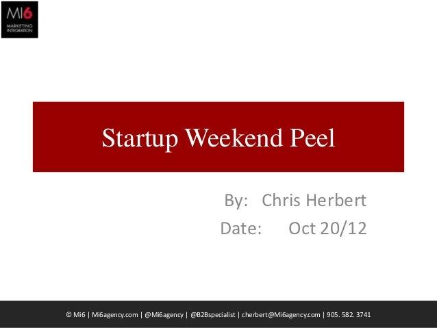 Startup Weekend Peel                                              By: Chris Herbert                                       ...