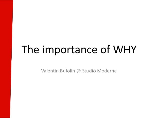 The importance of WHY Valentin Bufolin @ Studio Moderna