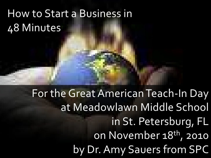 How to Start a Business in 48 Minutes<br />For the Great American Teach-In Day <br />at Meadowlawn Middle School<br />in S...
