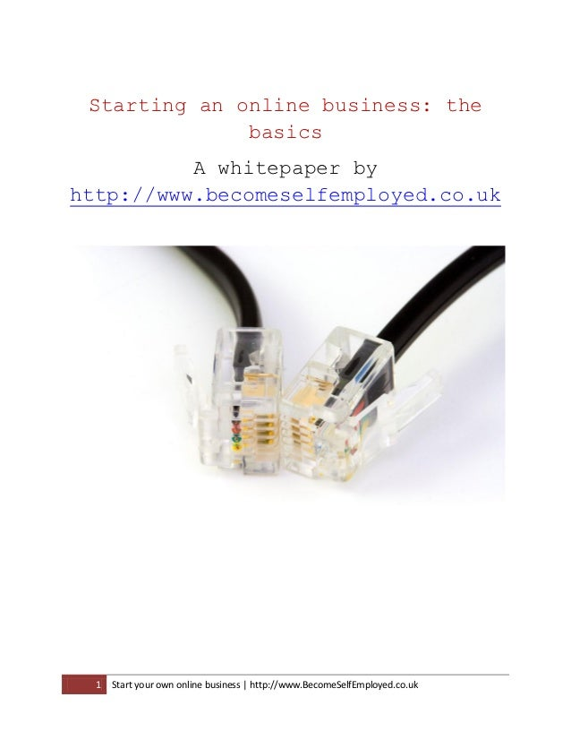 Starting an online business: the              basics          A whitepaper byhttp://www.becomeselfemployed.co.uk  1   Star...