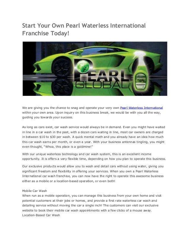 Start your own pearl waterless international franchise today