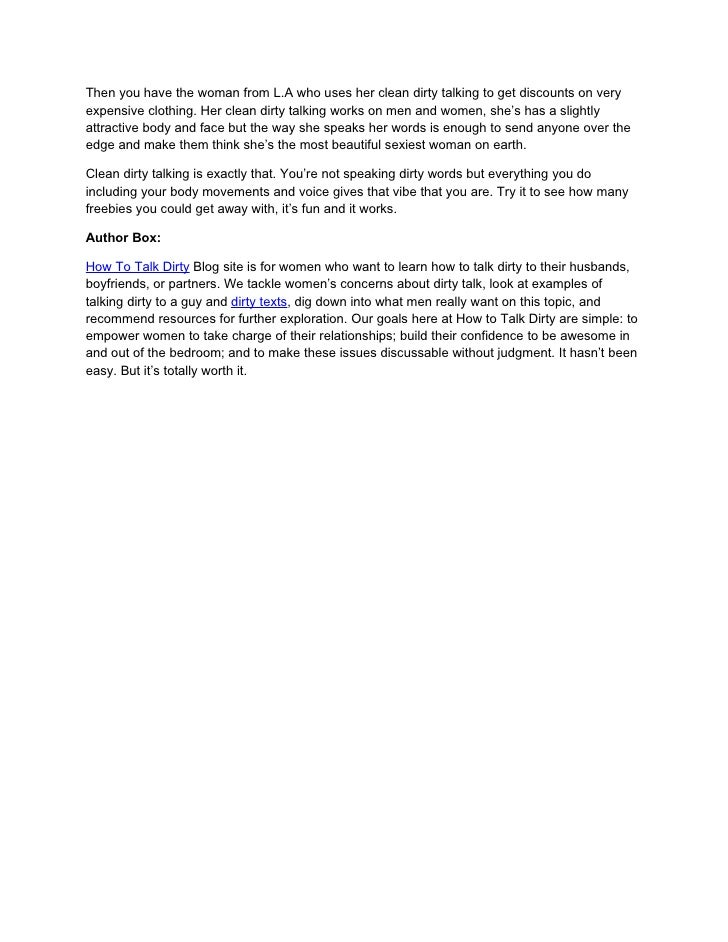 Dirty Talking Examples Gallery Example Cover Letter For Resume