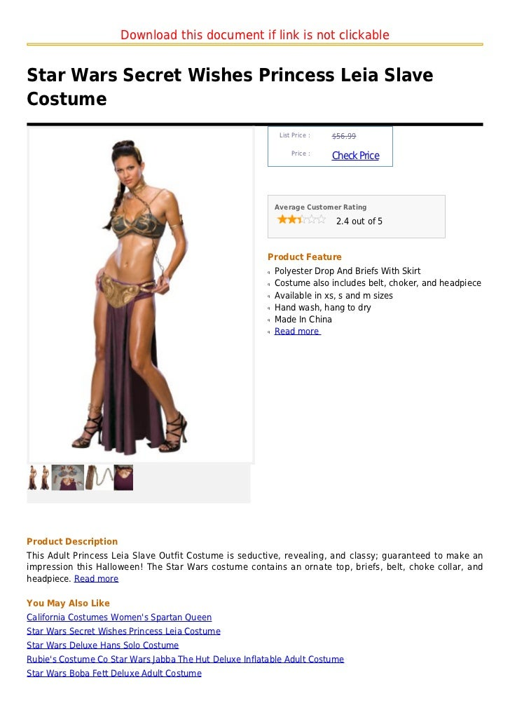 Download this document if link is not clickableStar Wars Secret Wishes Princess Leia SlaveCostume                         ...