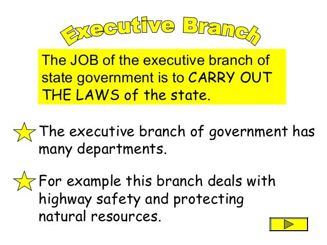 The JOB of the executive branch of state government is to CARRY OUT THE LAWS of the state. The executive branch of governm...