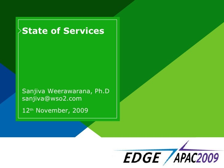 State of Services 12 th  November, 2009 Sanjiva Weerawarana, Ph.D [email_address]