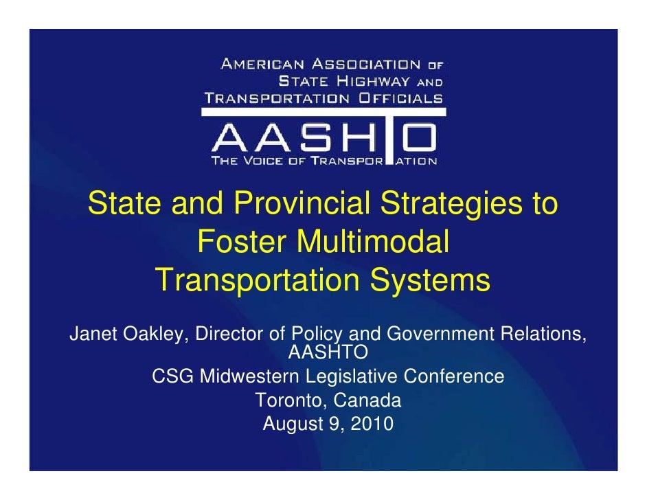 Strategies to Foster a Multimodal Transportation System