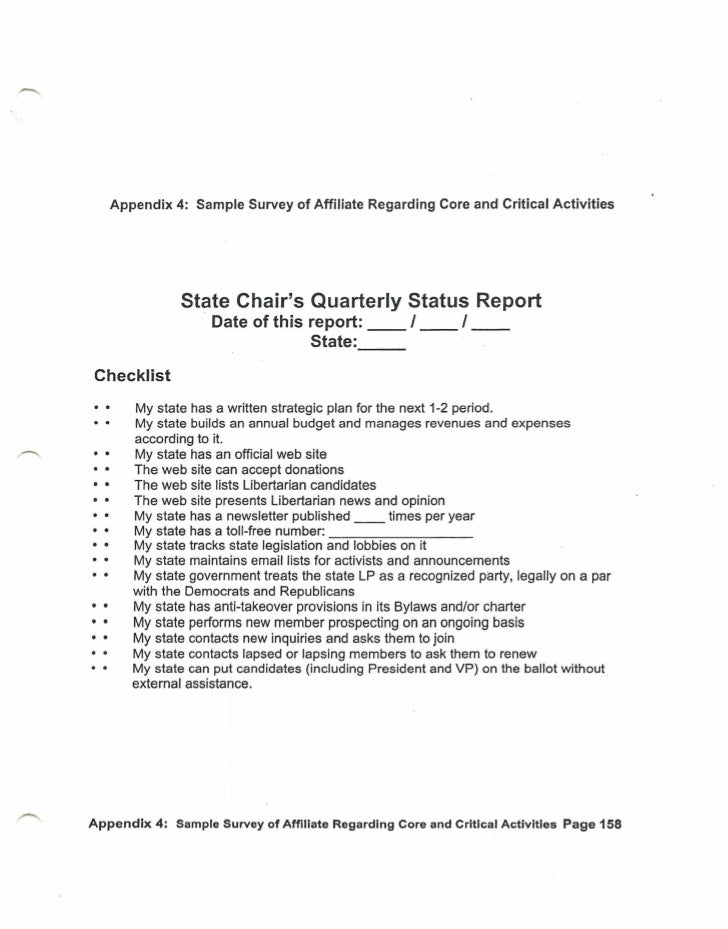 State chair's quarterly status report