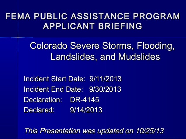 State FEMA Public Assistance Applicant Briefing October 30, 2013