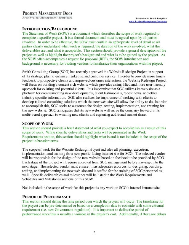 Statement of work for Statement of works template