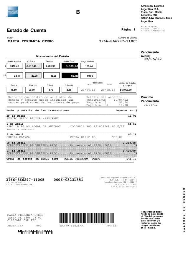 Estado de Cuenta Titular Número de Cuenta Saldo Anterior Créditos Débitos Saldo Total Pago Mínimo $ U$ Facturación Límite ...