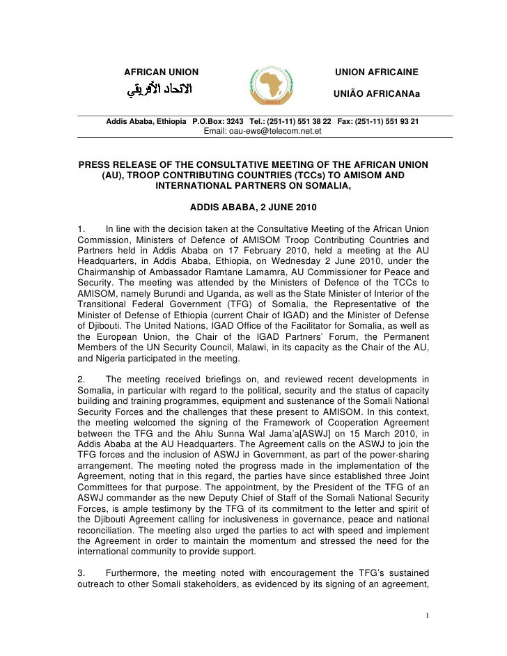 AFRICAN UNION (AU), TROOP CONTRIBUTING COUNTRIES (TCCs) TO AMISOM AND INTERNATIONAL PARTNERS ON SOMALIA - 2 JUNE 2010