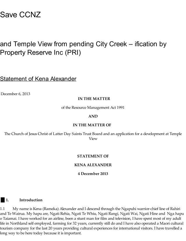 Statement of kena alexander