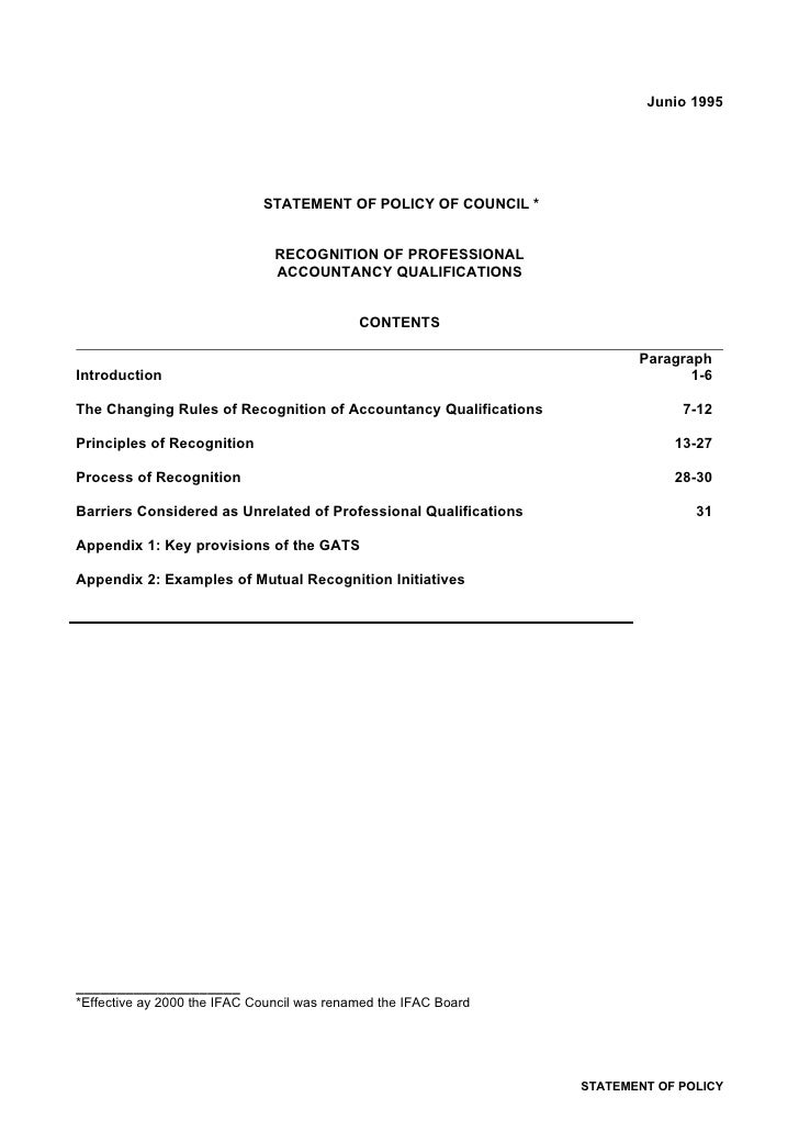 Junio 1995                                  STATEMENT OF POLICY OF COUNCIL *                                  RECOGNITION ...