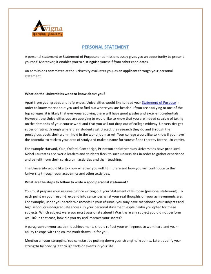 Personal statement resume examples