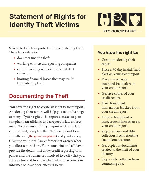 Statement of Rights for Identity Theft Victims