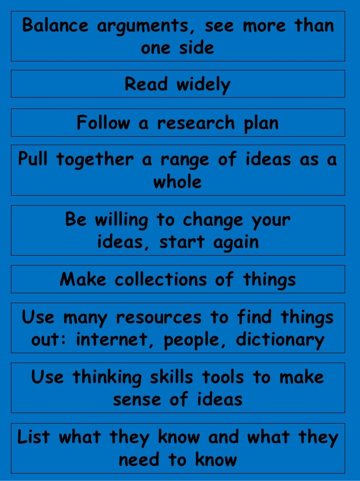 Balance arguments, see more than one side<br />Read widely<br />Follow a research plan<br />Pull together a range of ideas...