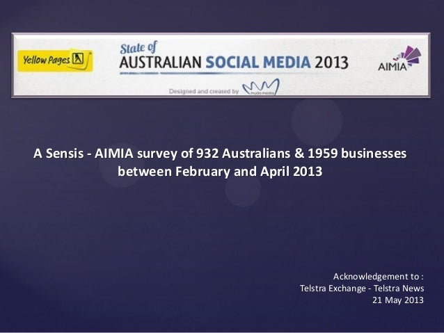 Acknowledgement to :Telstra Exchange - Telstra News21 May 2013A Sensis - AIMIA survey of 932 Australians & 1959 businesses...