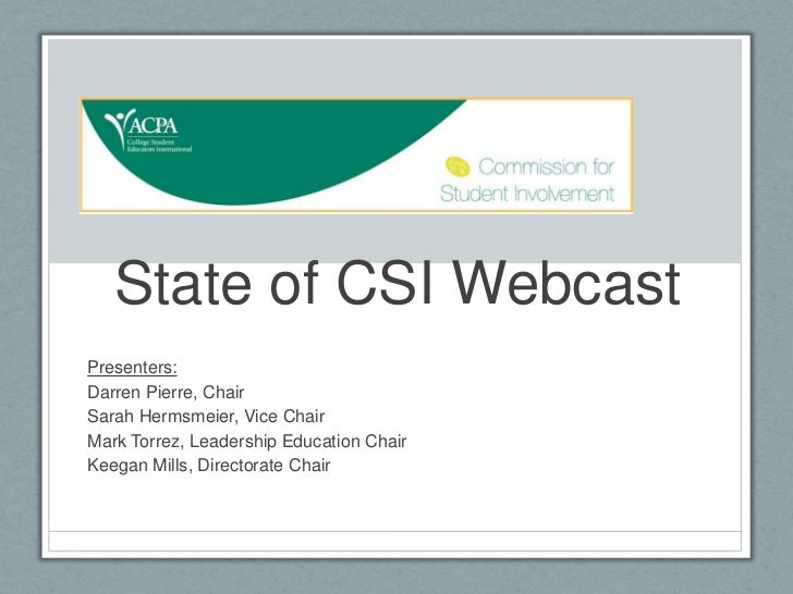 State of the Commission for Student Involvement (07/31/2012)