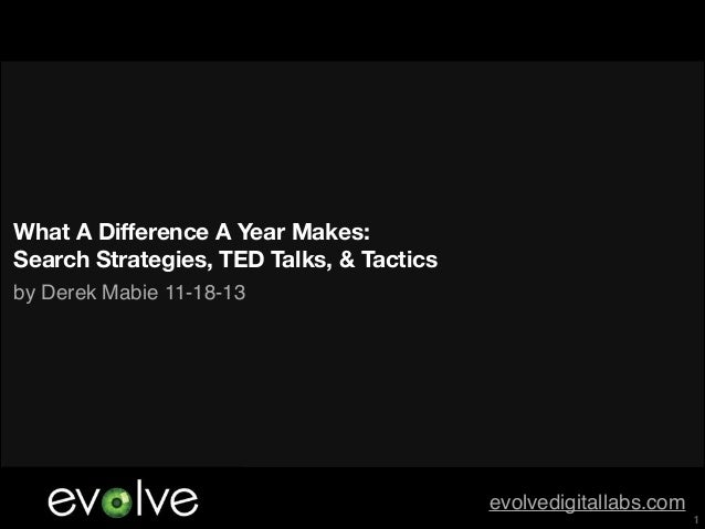 What A Difference A Year Makes: Search Strategies, TED Talks, & Tactics by Derek Mabie 11-18-13  evolvedigitallabs.com  !1