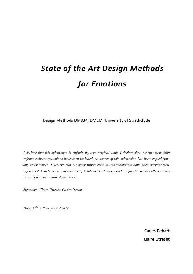 State of the Art Design Methods                                        for Emotions             Design Methods DM934, DMEM...